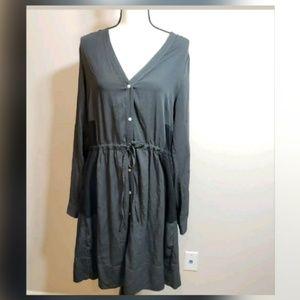 Gap Gray Black Button Down Drawstring Dress 12